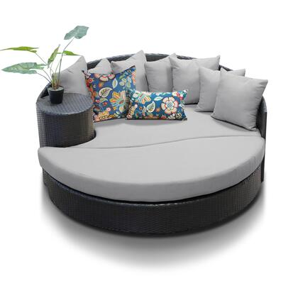 Newport Collection NEWPORT-GREY Circular Sun Bed with 4 Large Pillows and 3 Regular Pillows - Wheat and Grey