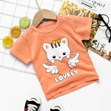 Toddler Girls Cartoon And Letter Graphic Tee
