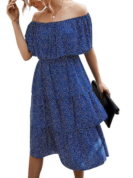 Milanoo Summer Dress Off The Shoulder Ruffles Cotton Tiered Dress