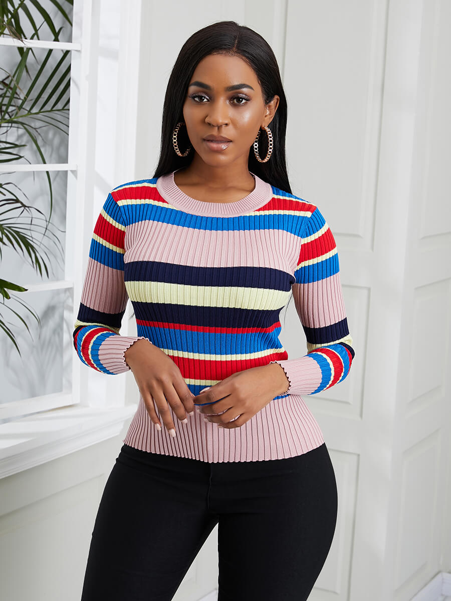 LW Lovely Chic O Neck Striped Patchwork Red Sweater