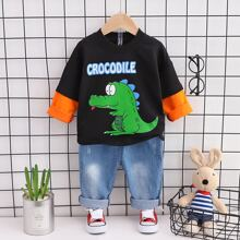 Toddler Boys Cartoon Graphic 2 In 1 Sweatshirt & Washed Jeans