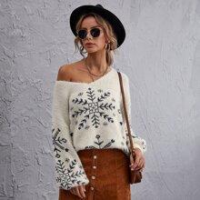 Drop Shoulder Snowflake Pattern Sweater