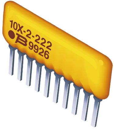 Bourns Isolated Resistor Array 220Ω ±2% 5 Resistors, 1.25W Total, SIP package 4600X Through Hole (25)