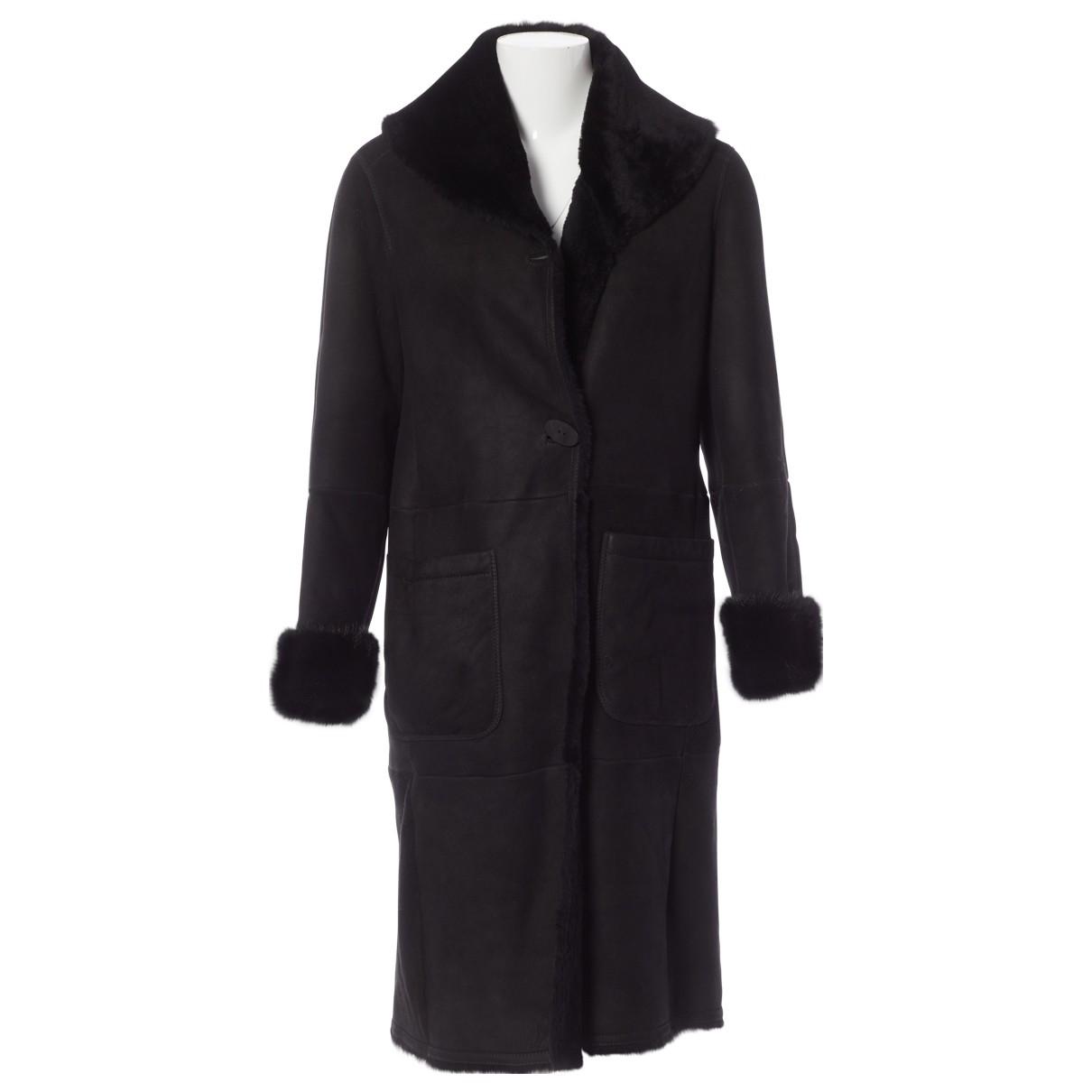 Max Mara - Manteau   pour femme en mouton - noir