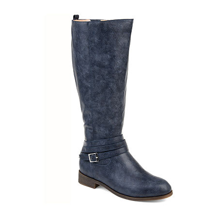 Journee Collection Womens Ivie Xwc Stacked Heel Zip Riding Boots, 11 Extra Wide, Blue