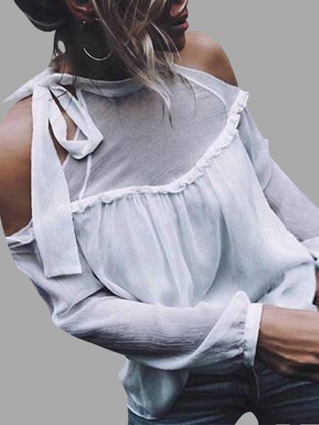 Yoins White Chiffon Belt Neck Cold Shoulder Flounced Stitching Blouses