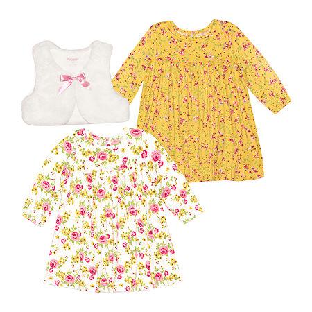 Nannette Baby Girls Long Sleeve Dress Set, 24 Months , White