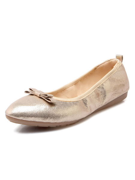 Milanoo Zapatos de ballet de mujer de oro en punta del pie del resbalon del arco en las bombas planas
