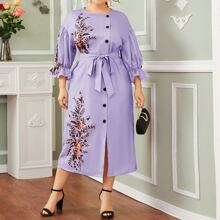 Plus Drop Shoulder Buttoned Self Belt Floral Dress