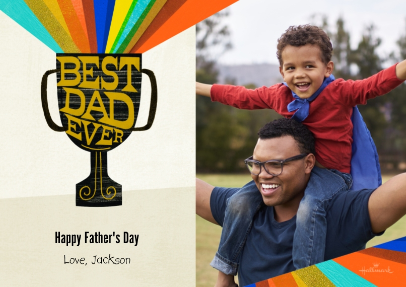 Fathers Day 5x7 Cards, Premium Cardstock 120lb with Rounded Corners, Card & Stationery -Best Dad Rainbow Trophy