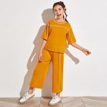 Girls Contrast Stitch Detail Top & Wide Leg Pants Set