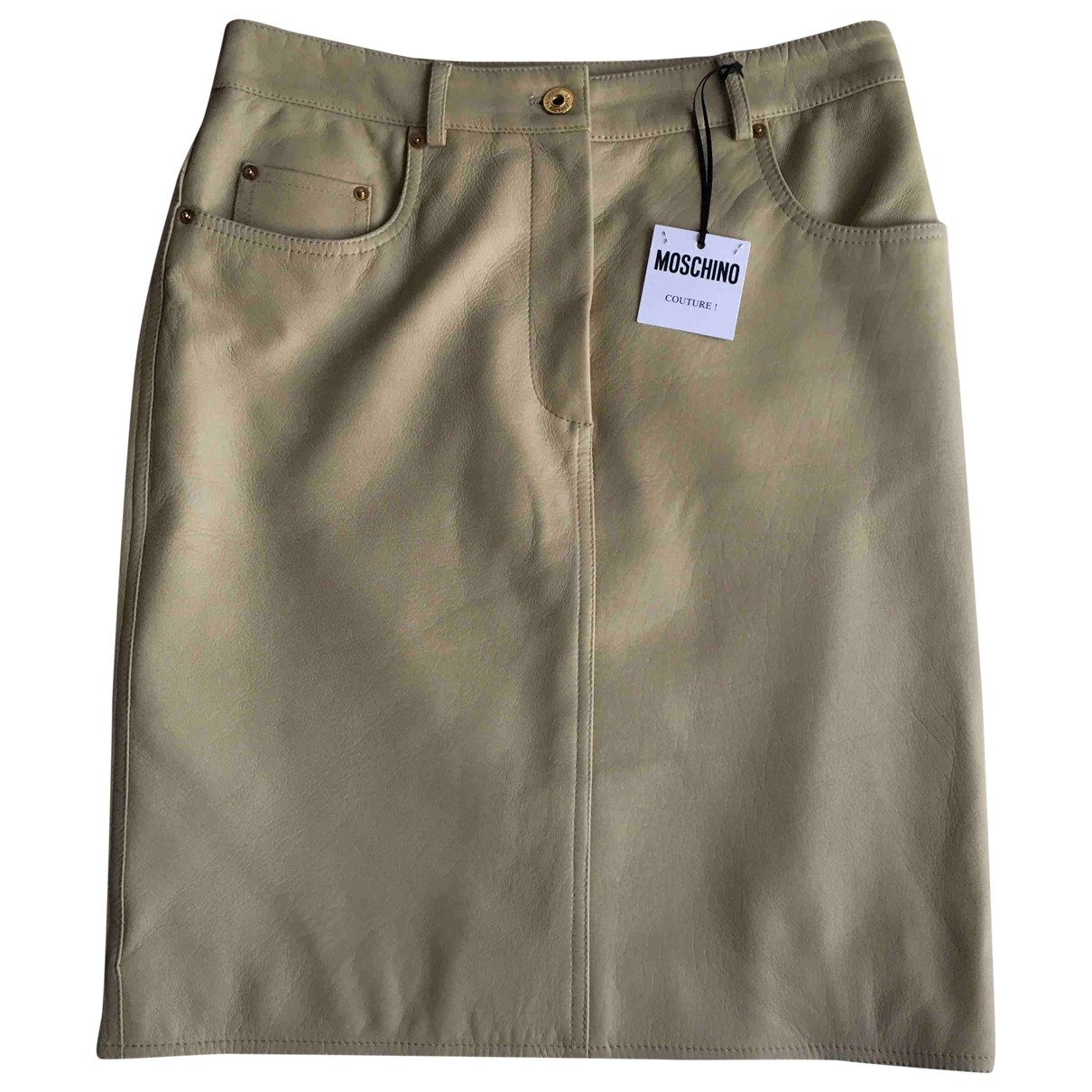 Moschino \N Beige Leather skirt for Women 42 IT
