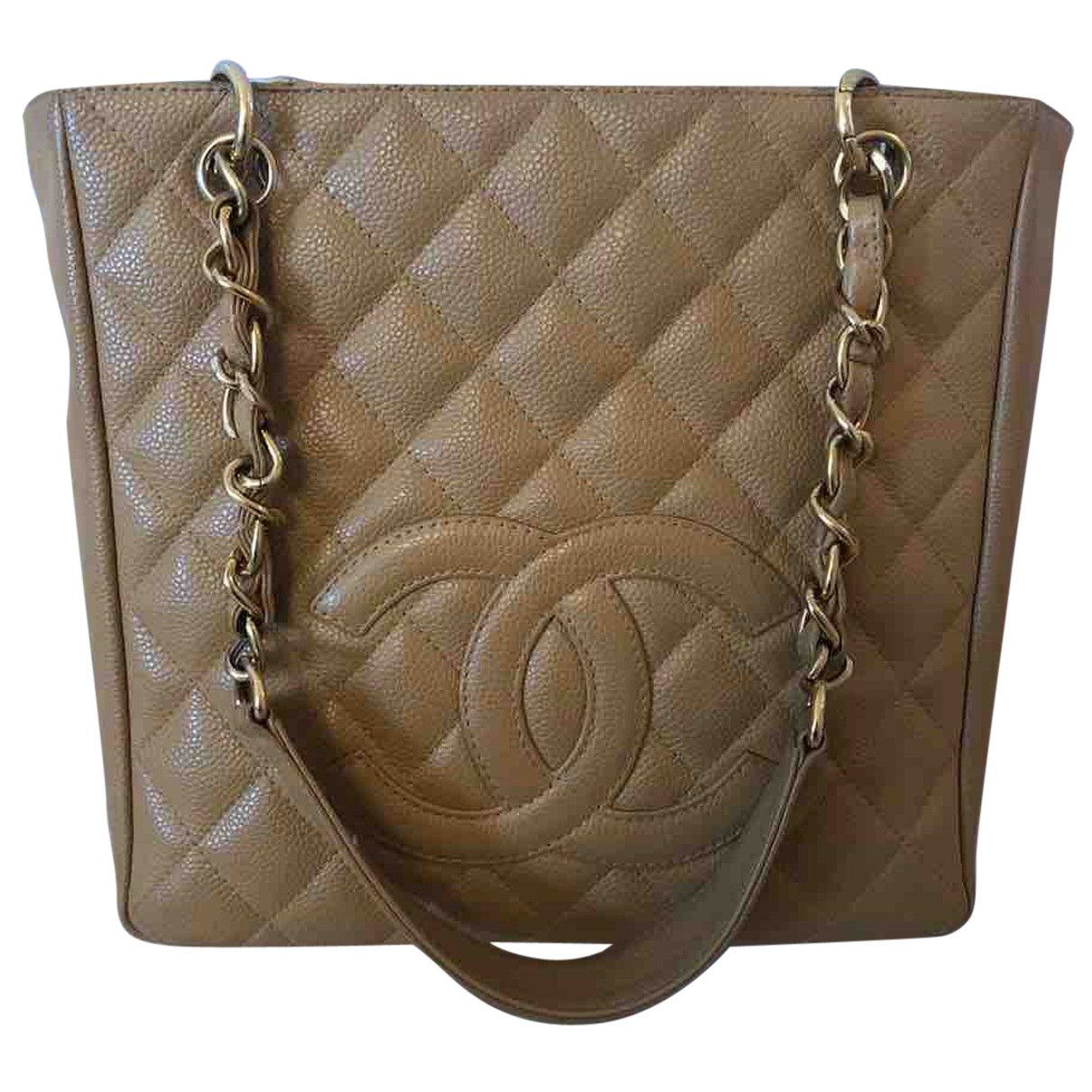 Chanel - Sac a main Petite Shopping Tote pour femme en cuir - beige
