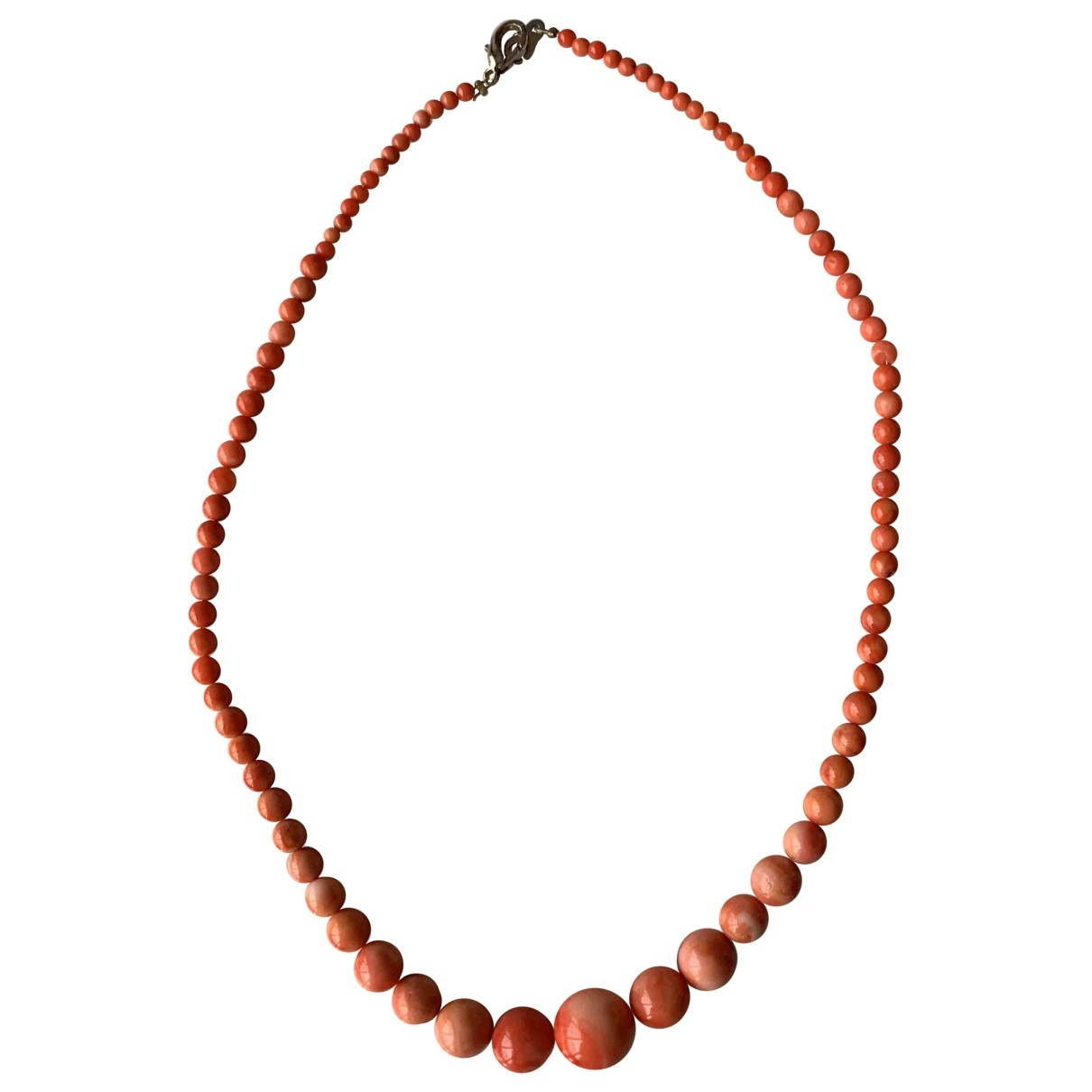 Non Signe / Unsigned Corail Kette in  Orange Perlen