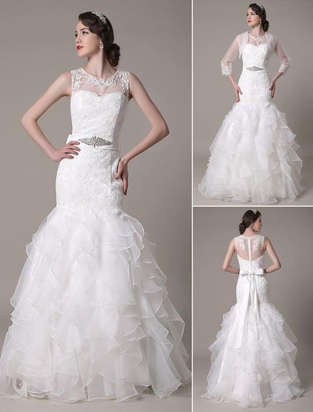 Milanoo Vestido de novia escote en corazon lazo hasta el suelo