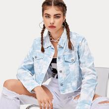 Button Front Tie Dye Raw Hem Crop Denim Jacket
