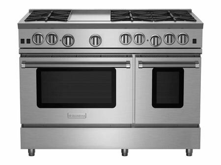 RNB486GV2CF 48 RNB Series Freestanding Gas Range with 6 Cast Iron Open Burners  4.5 Cu. Ft. Convection Oven  12 Griddle  Simmer Burner  Full Motion