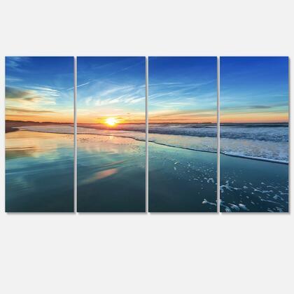 PT10531-271 Blue Seashore With Distant Sunset - Seascape Canvas Art Print - 48X28 - 4