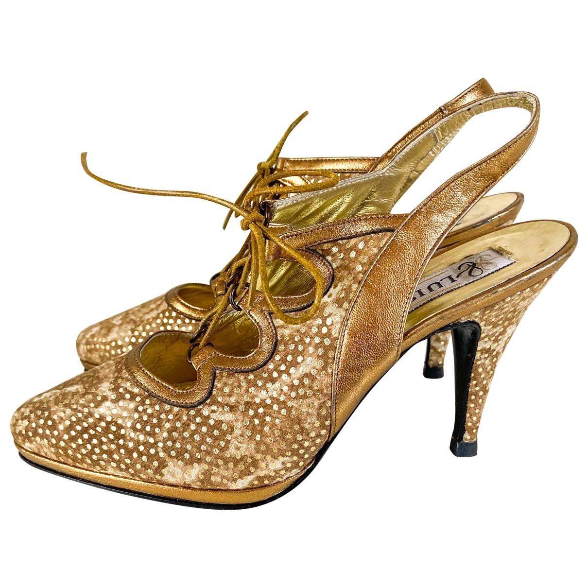 - Escarpins   pour femme en toile - dore