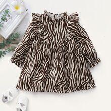 Vestido de pana babydoll de cuello con fruncido de rayas de cebra