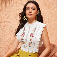 Embroidered Floral Guipure Lace Top