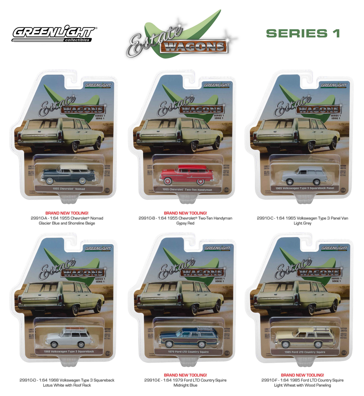 Estate Wagons Series 1 Set of 6 Cars 1/64 Diecast Models by Greenlight