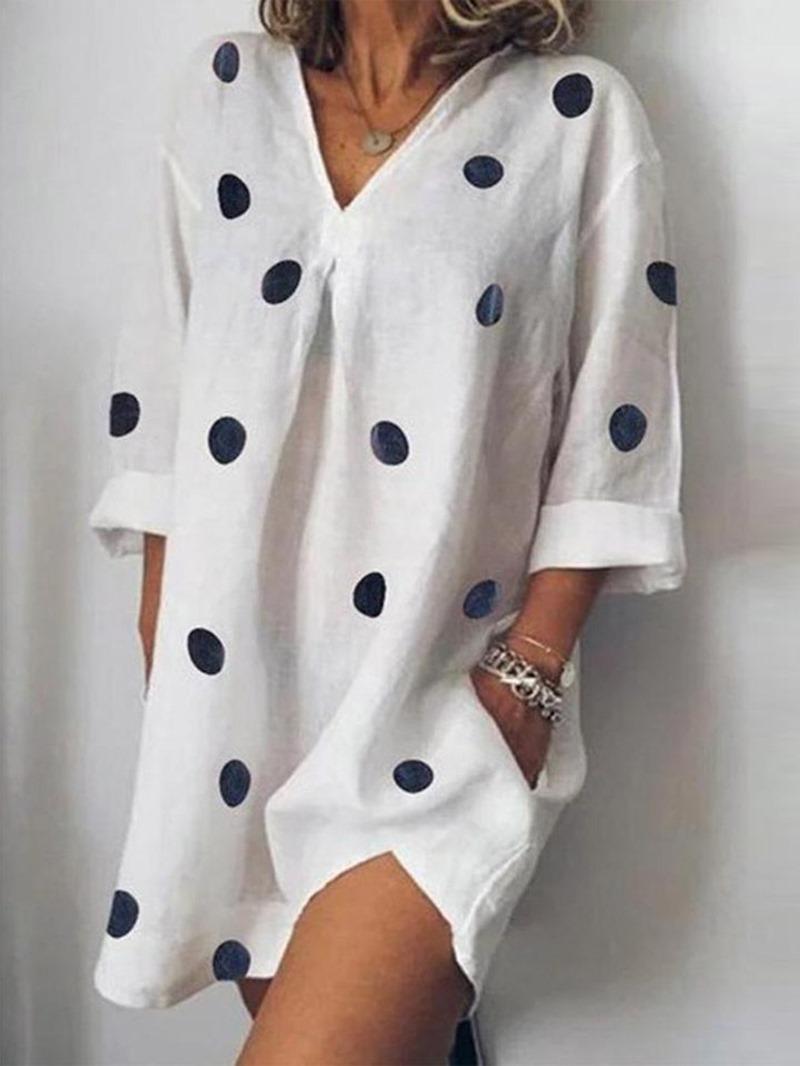 Ericdress Long Sleeve Above Knee V-Neck Polka Dots Pocket Dress