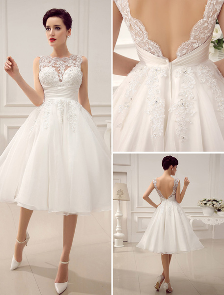 Milanoo Short Wedding Dresses Vintage 1950's Bridal Gown Backless Lace Beading Pleated Sequins Illusion Wedding Reception Dress With