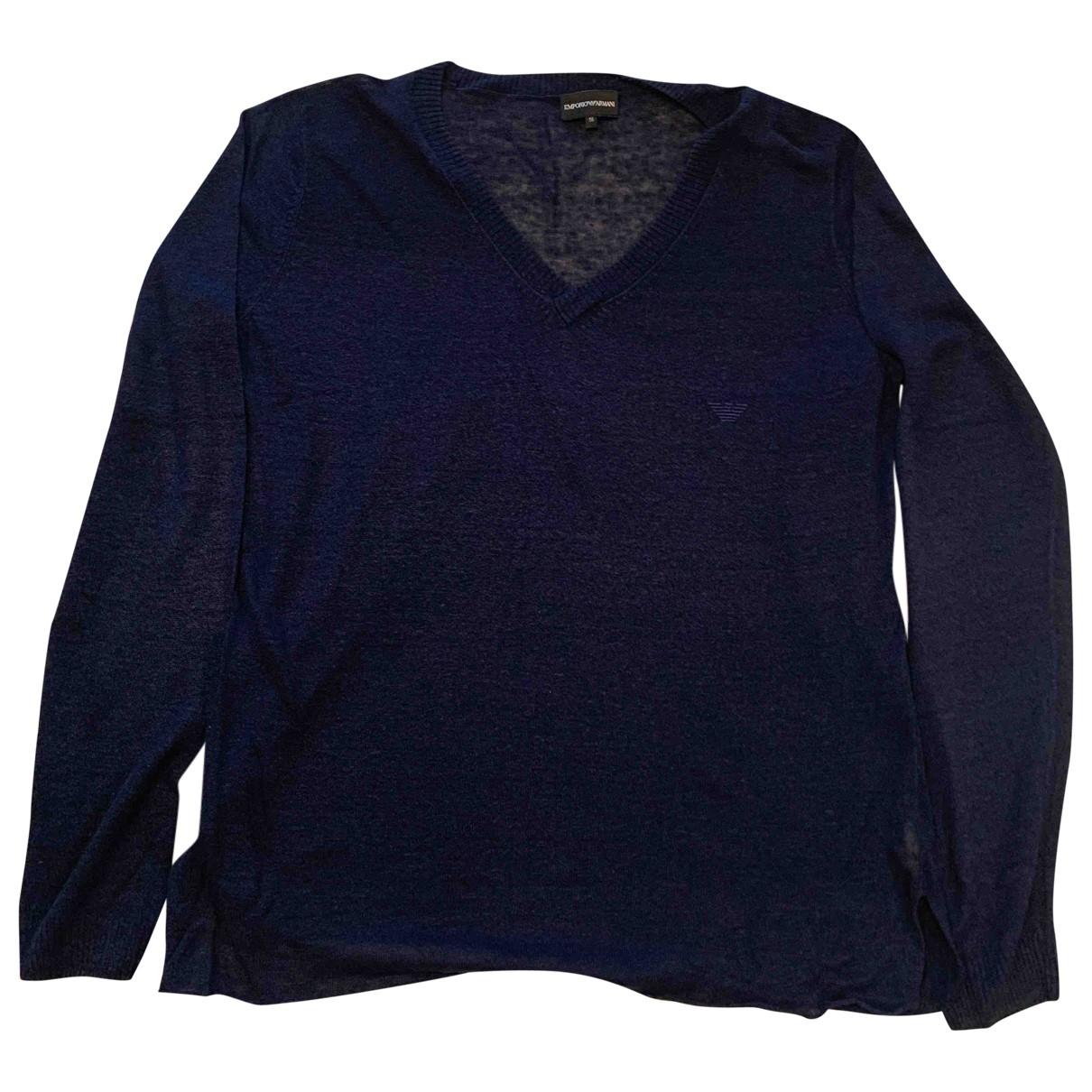Emporio Armani \N Pullover.Westen.Sweatshirts  in  Marine Leinen