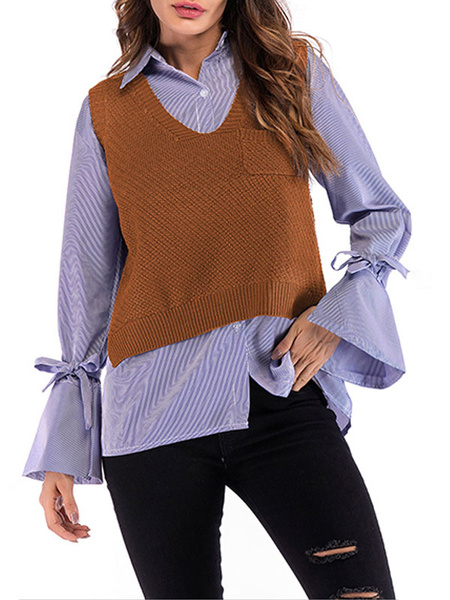 Milanoo Blouse For Women Khaki Stripes Layered Lace Up Turndown Collar Bows Flared Sleeves Tops