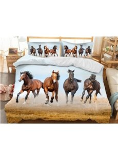 Running Horses 3D Animal Duvet Cover Sets Soft 3-Piece Bedding Sets with 2 Pillowcases