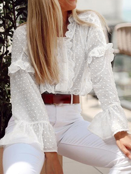 Yoins Celmia Lace Semi Sheer V-neck Bell Sleeves Blouse