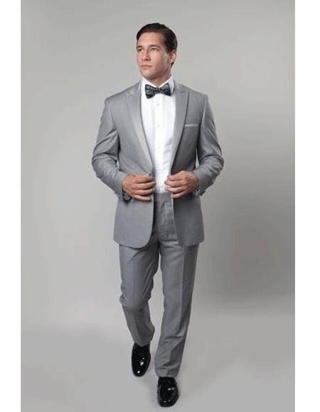 Mens 1 Button Slim Fit Gray Prom suit Flat Front Pants