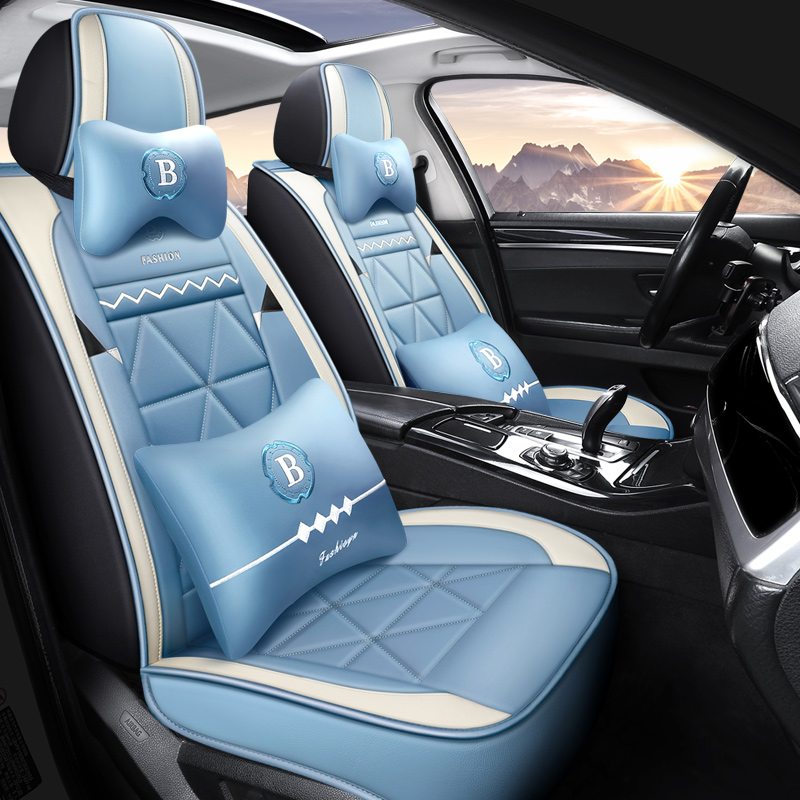 Geometric PU Pastoral Cotton Seat Cover Breathable Wear-resistant PU Leather Wear-resisting Scratch No Peculiar Smell Fresh Breathable Not Stuffy Airb