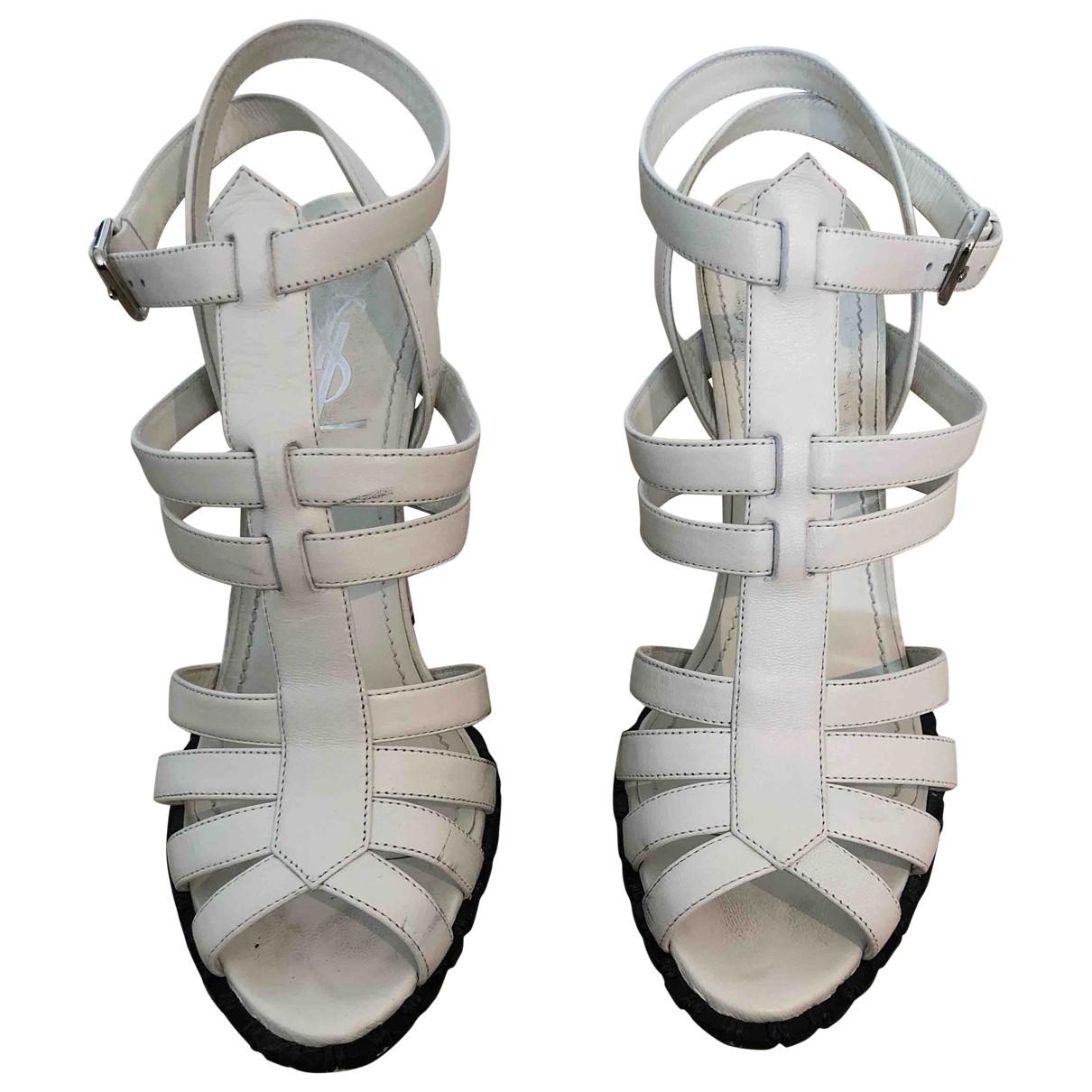 Yves Saint Laurent - Sandales   pour femme en cuir - blanc