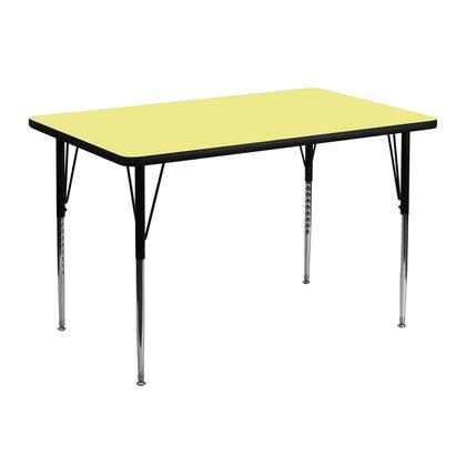 XU-A3048-REC-YEL-T-A-GG 30''W x 48''L Rectangular Activity Table with Yellow Thermal Fused Laminate Top and Standard Height Adjustable