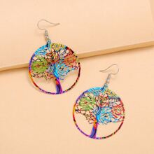 1pair Hollow Out Tree Design Drop Earrings