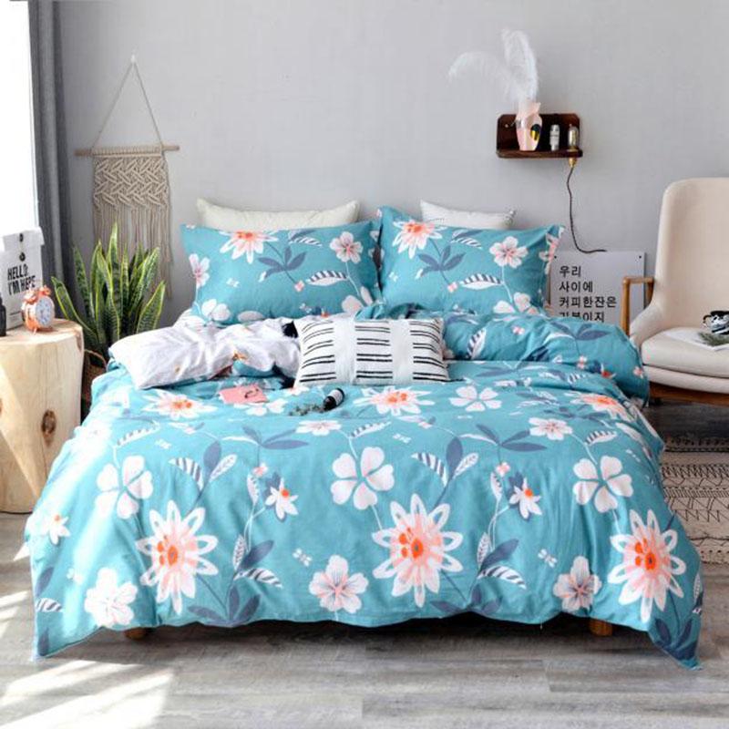 Floral Breathable Skin-friendly 4-Piece Cotton Bedding Sets Zipper Duvet Cover Set