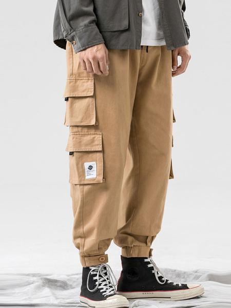 Milanoo Pants For Men Casual Natural Waist Straight Cargo Pant Khaki Men\'s Pants