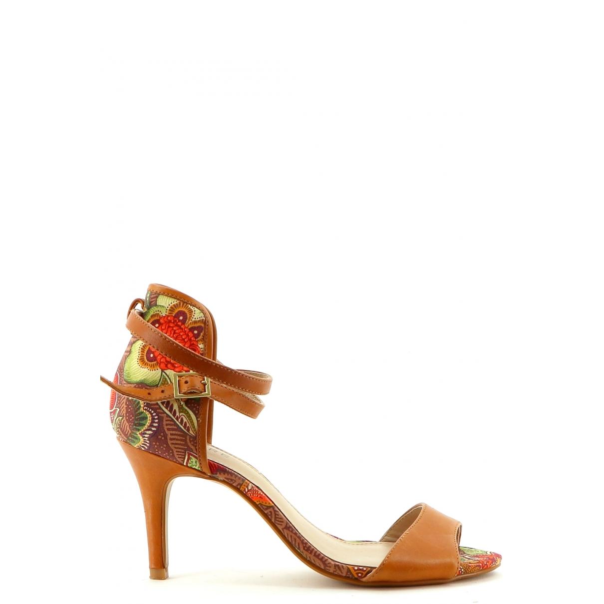 - Sandales   pour femme en cuir - marron