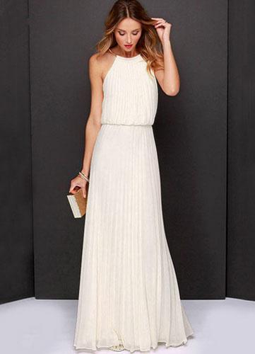 Milanoo Largo Vestido de Dama de Honor 2020 Blanco Chifon Plisado Halter Women Longitud de Piso Falda Maxi