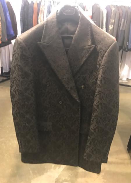 Double Breasted Peak Lapel Black Paisley Sport Coat For Men