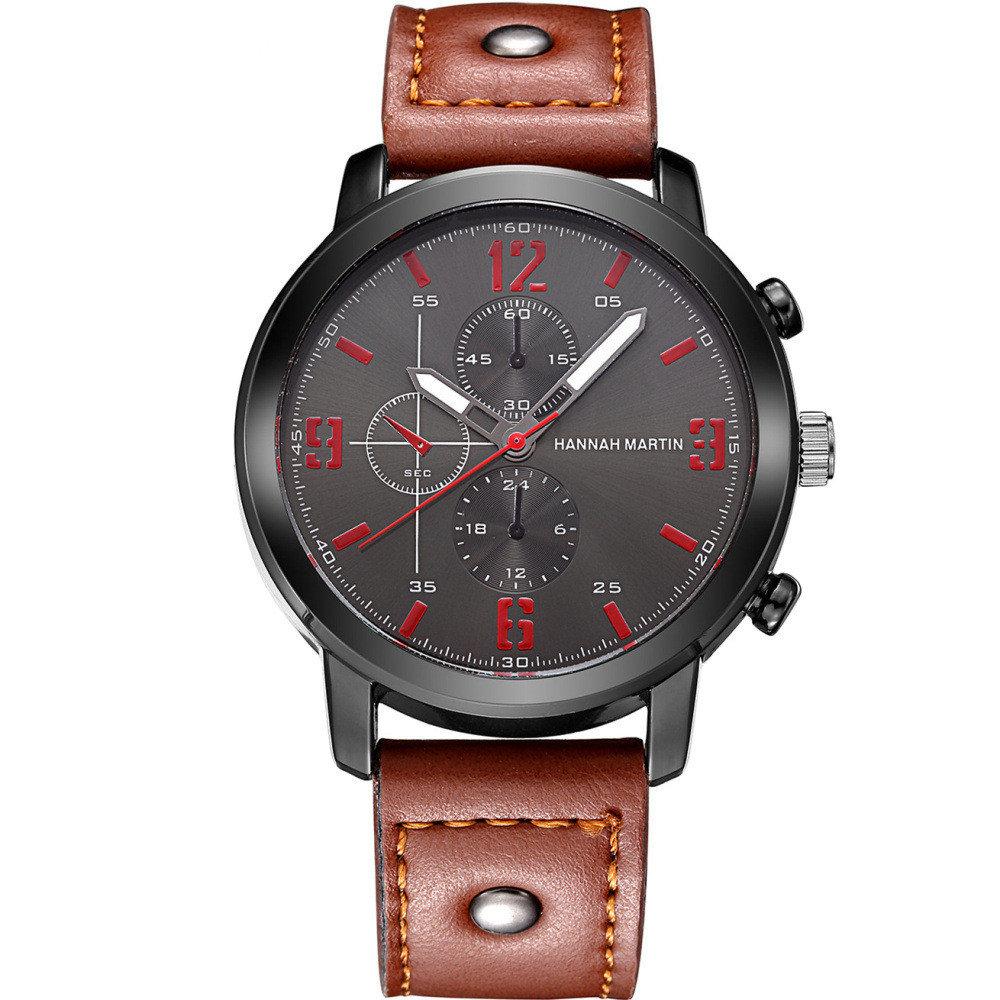 Fashion Brown Black Leather Strap Big Dial Quartz Sport Watches for Men