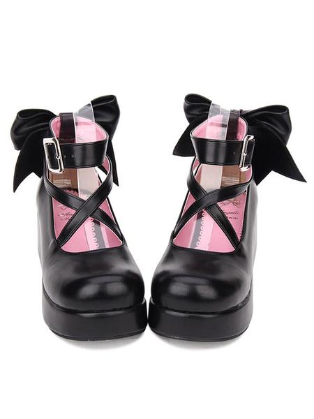Milanoo Sweet Lolita Footwear Bow Stappy Buckle Wedge Heel White Lolita Shoes