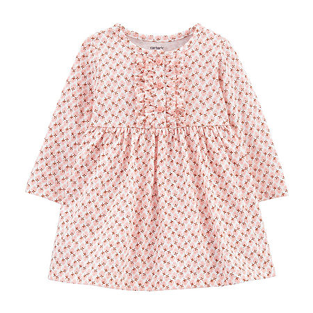 Carter's Baby Girls Long Sleeve Floral A-Line Dress, 3 Months , Pink