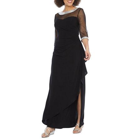 R & M Richards 3/4 Sleeve Embellished Evening Gown, 12 , Black