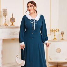Maxi Kleid mit Peter Pan Kragen und Knoten vorn