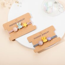 2pcs Toddler Girls Star Decor Hair Tie