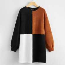 Drop Shoulder Colorblock Tee Dress