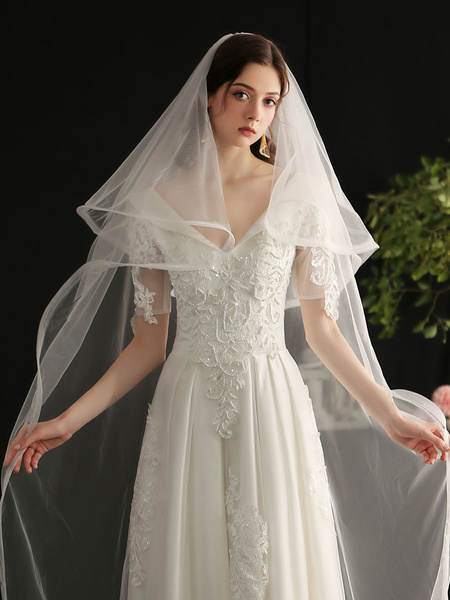 Milanoo Wedding Veil Two-Tier Polyester Finished Edge Waterfall Bridal Veil